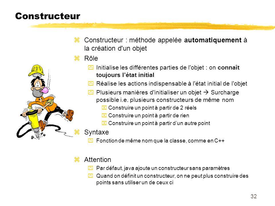 Constructeur zConstructeur : méthode appelée automatiquement à la création d'un objet zRôle yInitialise les différentes parties de l'objet : on connaî