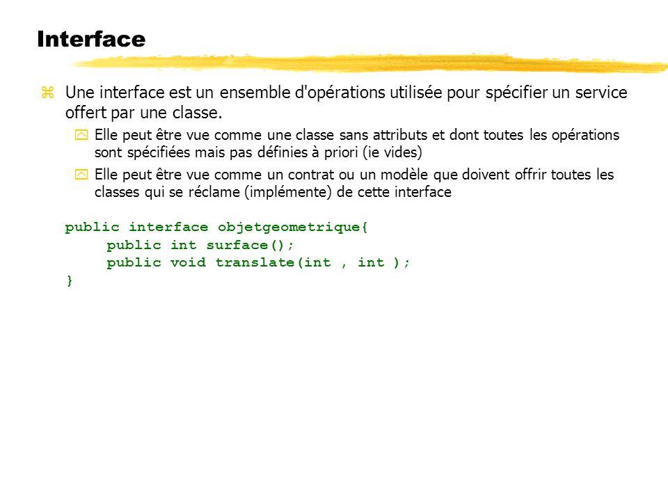 Une interface est un ensemble d'opérations utilisée pour spécifier un service offert par une classe. Elle peut être vue comme une classe sans attribut
