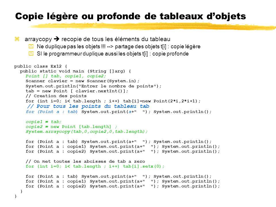 Copie légère ou profonde de tableaux dobjets zarraycopy recopie de tous les éléments du tableau yNe duplique pas les objets !!! --> partage des objets
