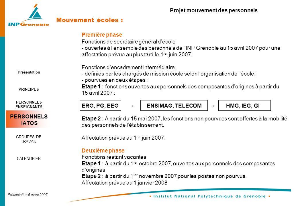 Présentation 6 mars 2007 Projet mouvement des personnels Domaines - Proposition daffectation Les chargés de mission école et le secrétaire général formule une proposition daffectation.