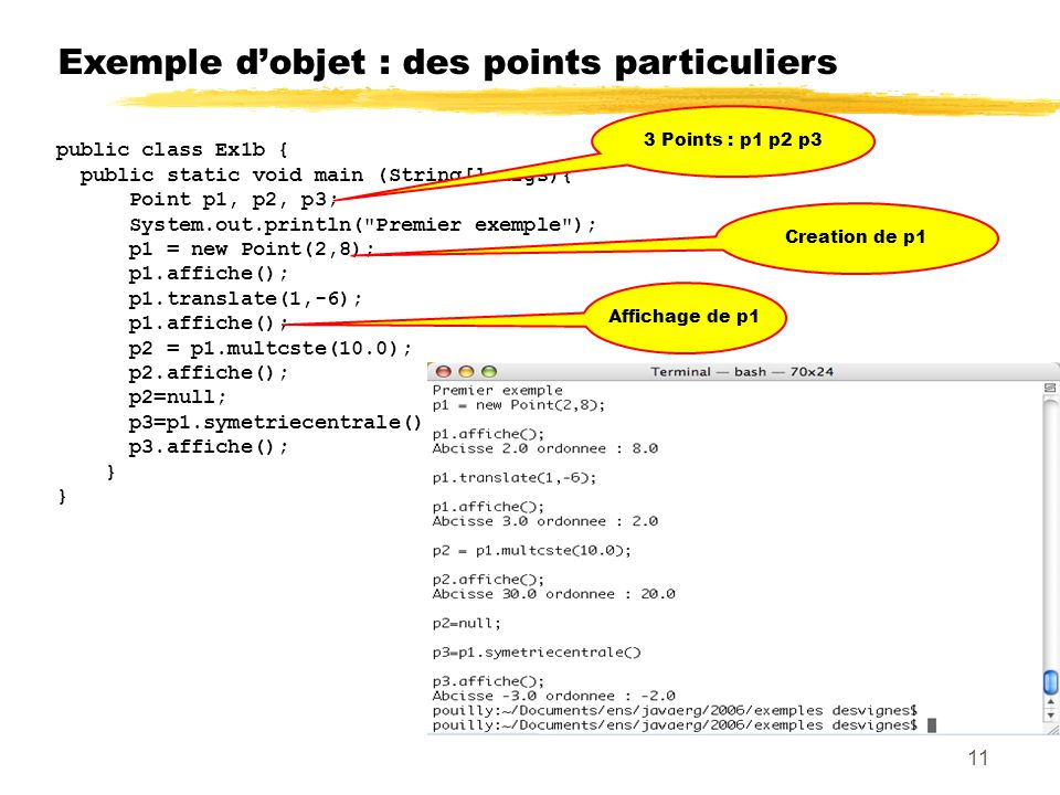 Exemple dobjet : des points particuliers public class Ex1b { public static void main (String[] args){ Point p1, p2, p3; System.out.println( Premier exemple ); p1 = new Point(2,8); p1.affiche(); p1.translate(1,-6); p1.affiche(); p2 = p1.multcste(10.0); p2.affiche(); p2=null; p3=p1.symetriecentrale(); p3.affiche(); } 3 Points : p1 p2 p3 Creation de p1 Affichage de p1 11