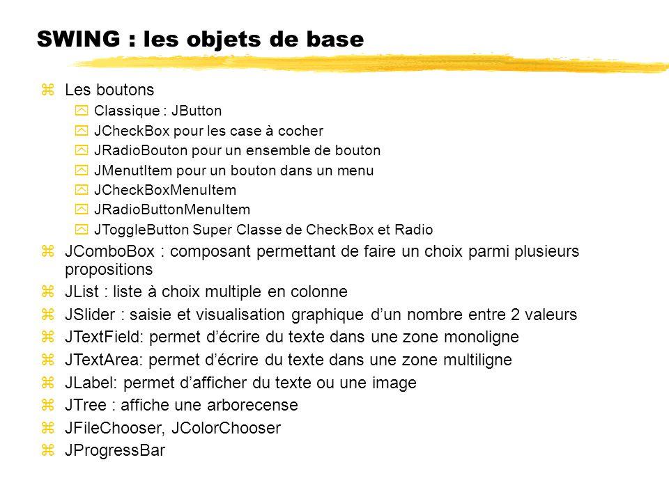SWING : les objets de base Les boutons Classique : JButton JCheckBox pour les case à cocher JRadioBouton pour un ensemble de bouton JMenutItem pour un bouton dans un menu JCheckBoxMenuItem JRadioButtonMenuItem JToggleButton Super Classe de CheckBox et Radio JComboBox : composant permettant de faire un choix parmi plusieurs propositions JList : liste à choix multiple en colonne JSlider : saisie et visualisation graphique dun nombre entre 2 valeurs JTextField: permet décrire du texte dans une zone monoligne JTextArea: permet décrire du texte dans une zone multiligne JLabel: permet dafficher du texte ou une image JTree : affiche une arborecense JFileChooser, JColorChooser JProgressBar