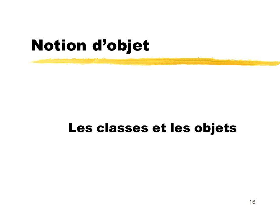 Notion dobjet Les classes et les objets 16