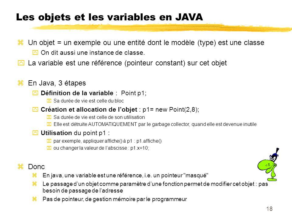 Les objets et les variables en JAVA Un objet = un exemple ou une entité dont le modèle (type) est une classe On dit aussi une instance de classe.