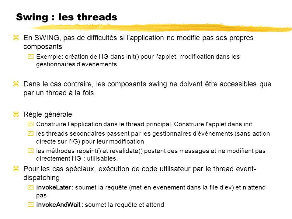 Swing : les threads En SWING, pas de difficultés si l application ne modifie pas ses propres composants Exemple: création de l IG dans init() pour l applet, modification dans les gestionnaires d événements Dans le cas contraire, les composants swing ne doivent être accessibles que par un thread à la fois.