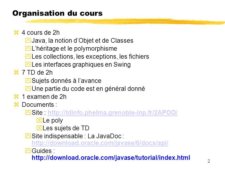 Organisation du cours 4 cours de 2h Java, la notion dObjet et de Classes Lhéritage et le polymorphisme Les collections, les exceptions, les fichiers Les interfaces graphiques en Swing 7 TD de 2h Sujets donnés à lavance Une partie du code est en général donné 1 examen de 2h Documents : Site : http://tdinfo.phelma.grenoble-inp.fr/2APOO/http://tdinfo.phelma.grenoble-inp.fr/2APOO/ Le poly Les sujets de TD Site indispensable : La JavaDoc : http://download.oracle.com/javase/6/docs/api/ http://download.oracle.com/javase/6/docs/api/ Guides : http://download.oracle.com/javase/tutorial/index.html 2