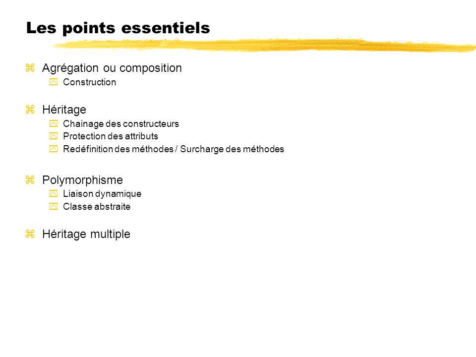 Les points essentiels Agrégation ou composition Construction Héritage Chainage des constructeurs Protection des attributs Redéfinition des méthodes / Surcharge des méthodes Polymorphisme Liaison dynamique Classe abstraite Héritage multiple