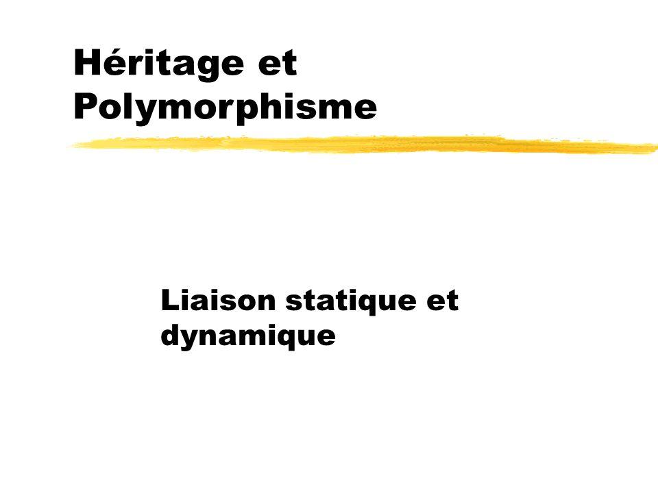 Héritage et Polymorphisme Liaison statique et dynamique