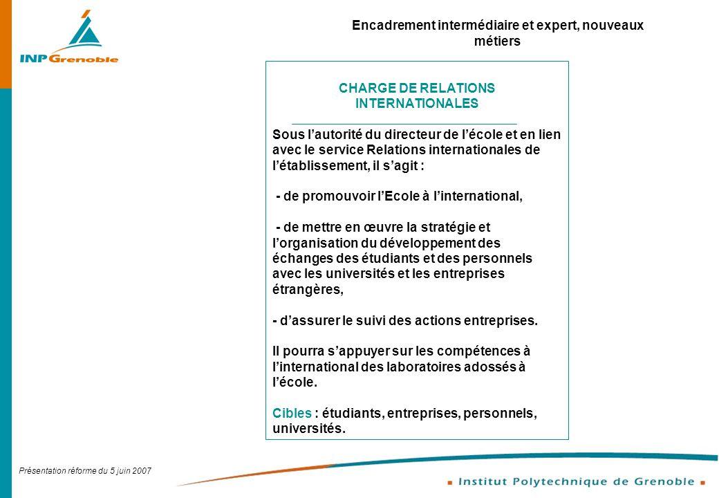 Présentation réforme du 5 juin 2007 Encadrement intermédiaire et expert, nouveaux métiers CHARGE DE RELATIONS INTERNATIONALES Sous lautorité du direct