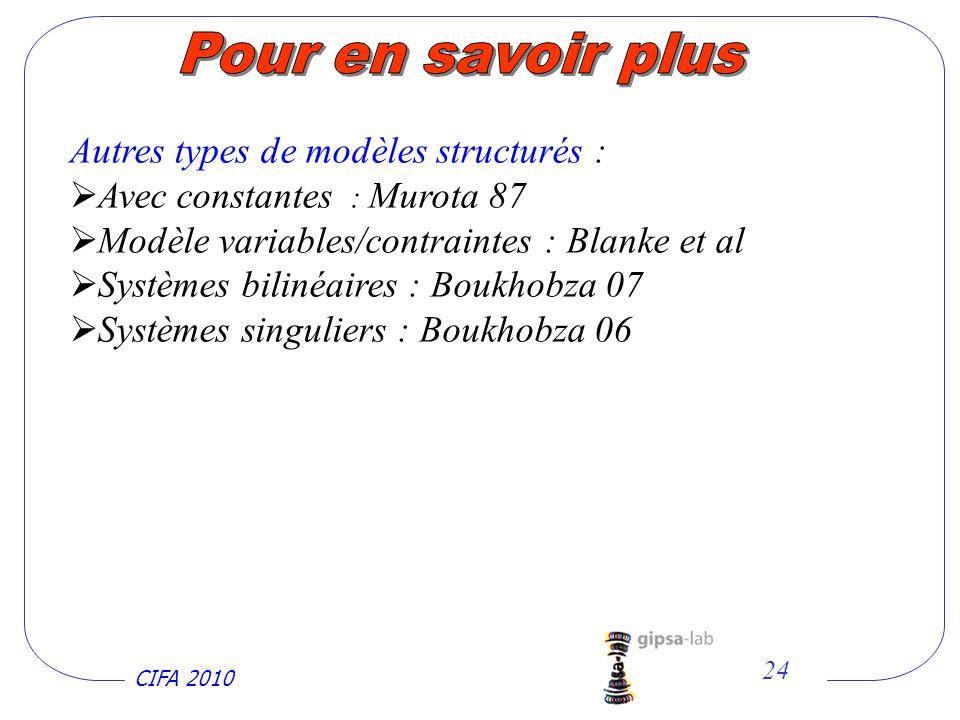 CIFA 2010 24 Autres types de modèles structurés : Avec constantes : Murota 87 Modèle variables/contraintes : Blanke et al Systèmes bilinéaires : Boukhobza 07 Systèmes singuliers : Boukhobza 06