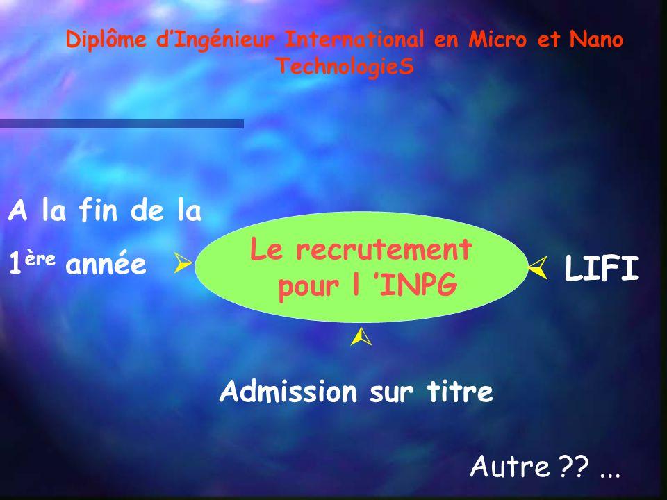 Le recrutement pour l INPG A la fin de la 1 ère année LIFI Admission sur titre Autre ??... Diplôme dIngénieur International en Micro et Nano Technolog