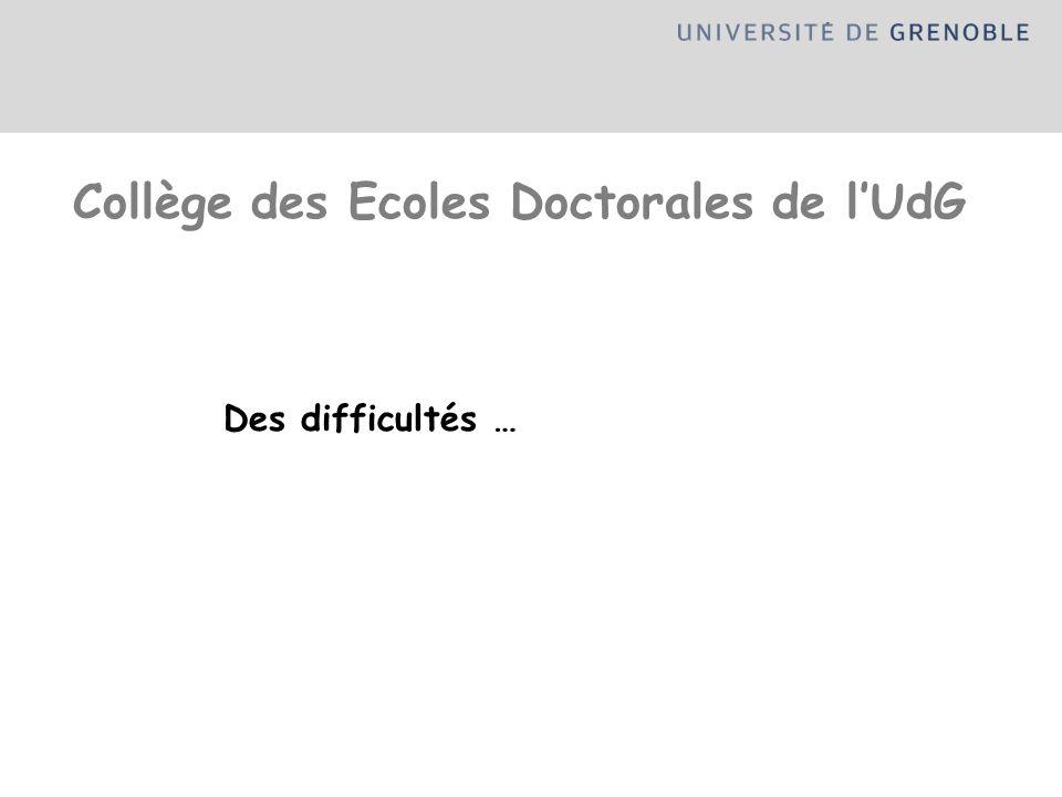 Des difficultés … Collège des Ecoles Doctorales de lUdG