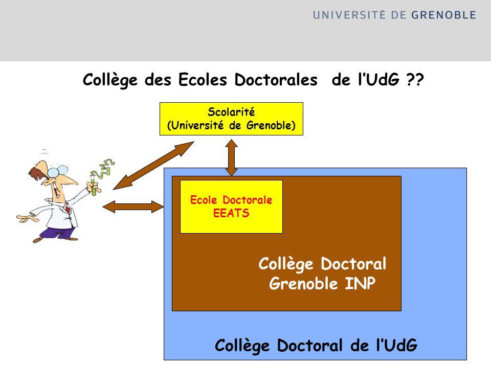 Collège Doctoral de lUdG Collège des Ecoles Doctorales de lUdG ?? Scolarité (Université de Grenoble) Collège Doctoral Grenoble INP Ecole Doctorale EEA