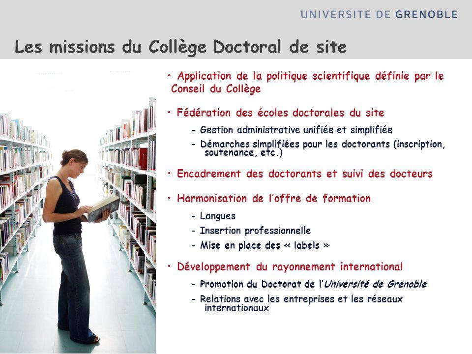 Application de la politique scientifique définie par le Conseil du Collège Fédération des écoles doctorales du site - Gestion administrative unifiée e
