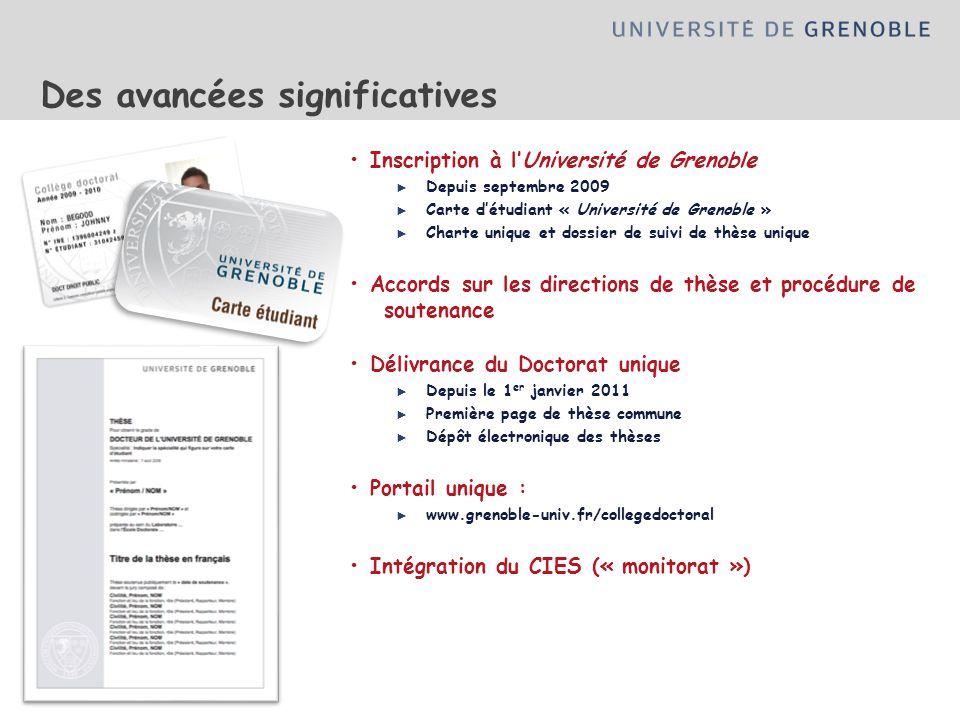 Des avancées significatives Inscription à lUniversité de Grenoble Depuis septembre 2009 Carte détudiant « Université de Grenoble » Charte unique et do