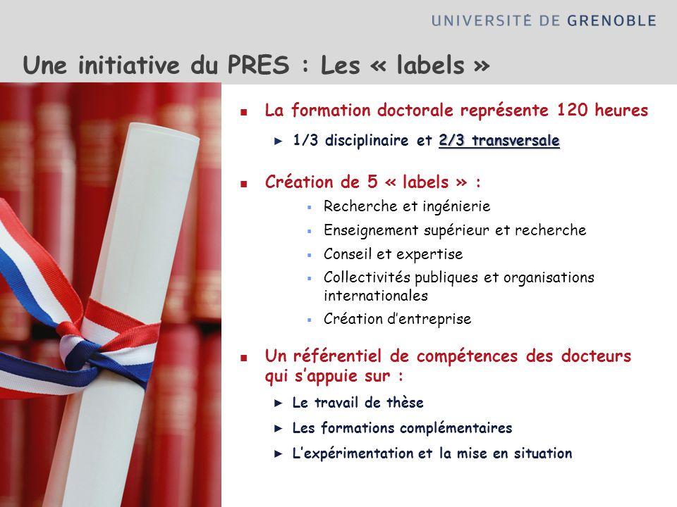 Une initiative du PRES : Les « labels » La formation doctorale représente 120 heures 2/3 transversale 1/3 disciplinaire et 2/3 transversale Création d