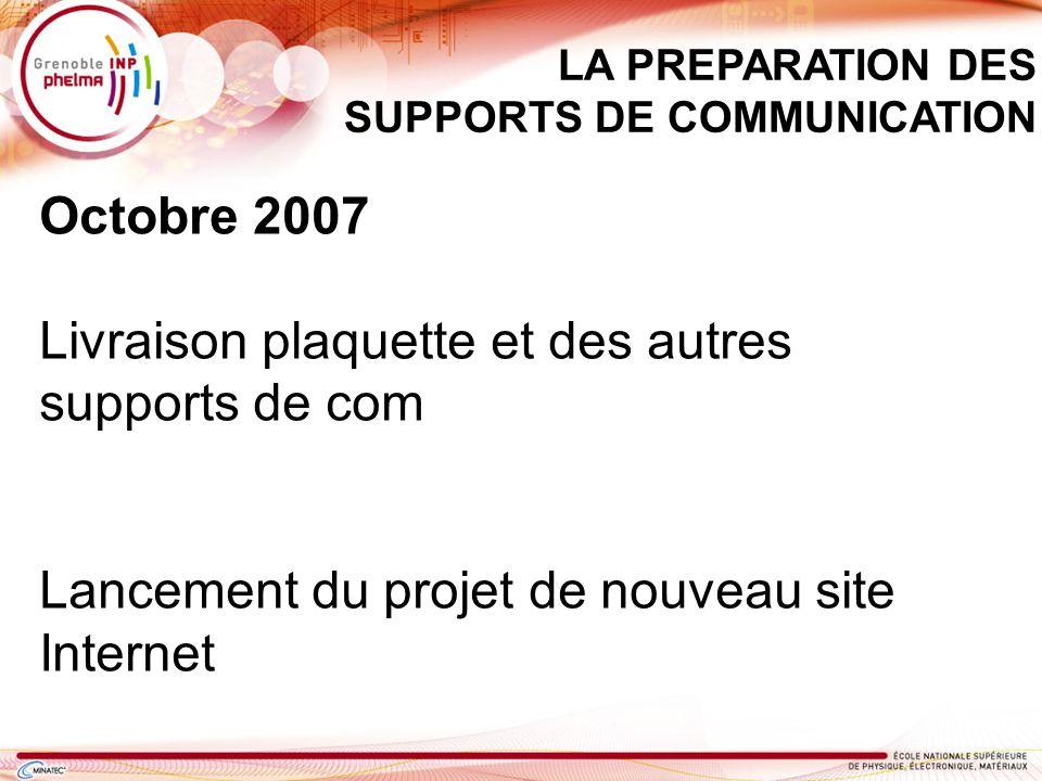 Octobre 2007 Livraison plaquette et des autres supports de com Lancement du projet de nouveau site Internet LA PREPARATION DES SUPPORTS DE COMMUNICATI