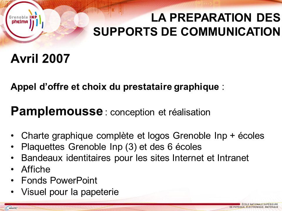 Avril 2007 Appel doffre et choix du prestataire graphique : Pamplemousse : conception et réalisation Charte graphique complète et logos Grenoble Inp +
