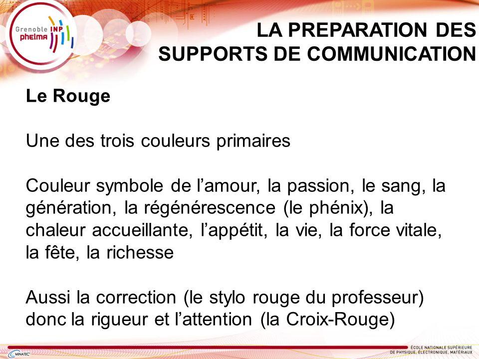 LA PREPARATION DES SUPPORTS DE COMMUNICATION Le Rouge Une des trois couleurs primaires Couleur symbole de lamour, la passion, le sang, la génération,