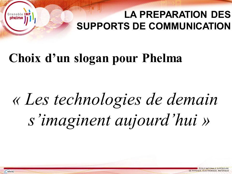 Choix dun slogan pour Phelma « Les technologies de demain simaginent aujourdhui » LA PREPARATION DES SUPPORTS DE COMMUNICATION