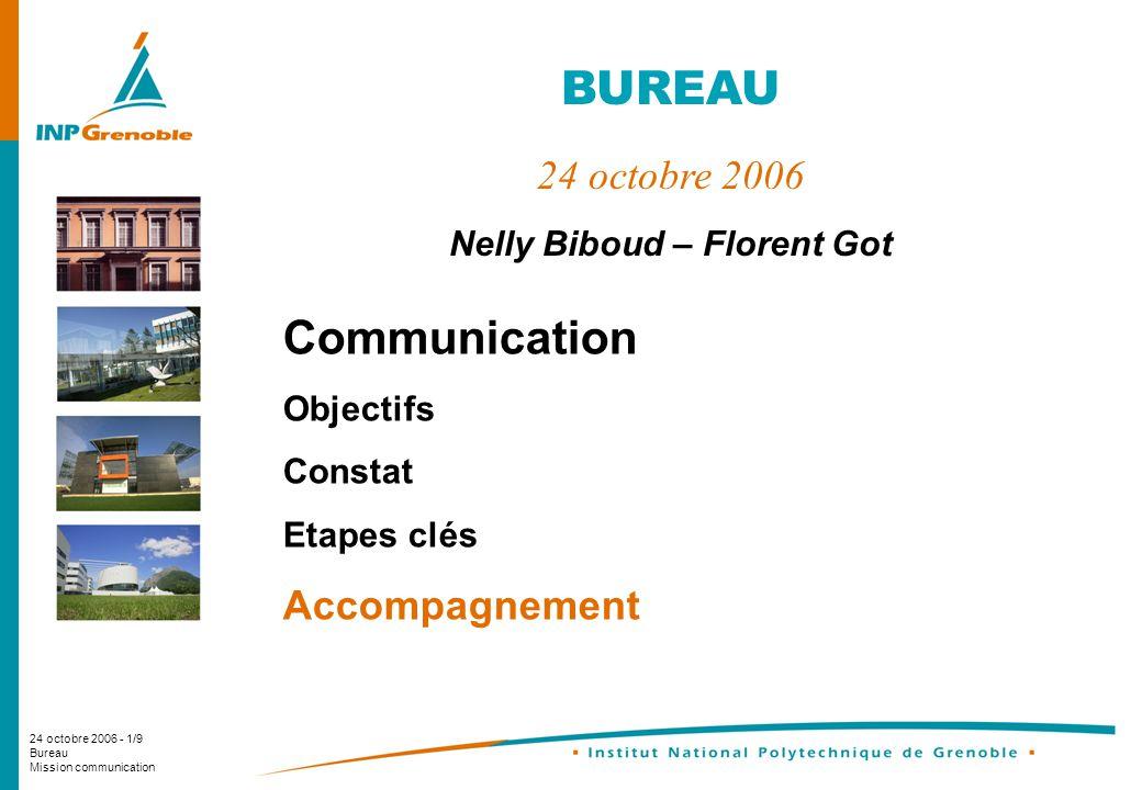 24 octobre 2006 - 1/9 Bureau Mission communication Communication Objectifs Constat Etapes clés Accompagnement BUREAU 24 octobre 2006 Nelly Biboud – Florent Got