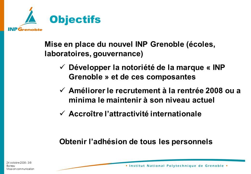24 octobre 2006 - 3/9 Bureau Mission communication Objectifs Mise en place du nouvel INP Grenoble (écoles, laboratoires, gouvernance) Développer la no