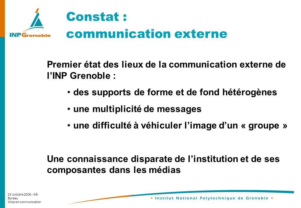 24 octobre 2006 - 4/9 Bureau Mission communication Constat : communication externe Premier état des lieux de la communication externe de lINP Grenoble