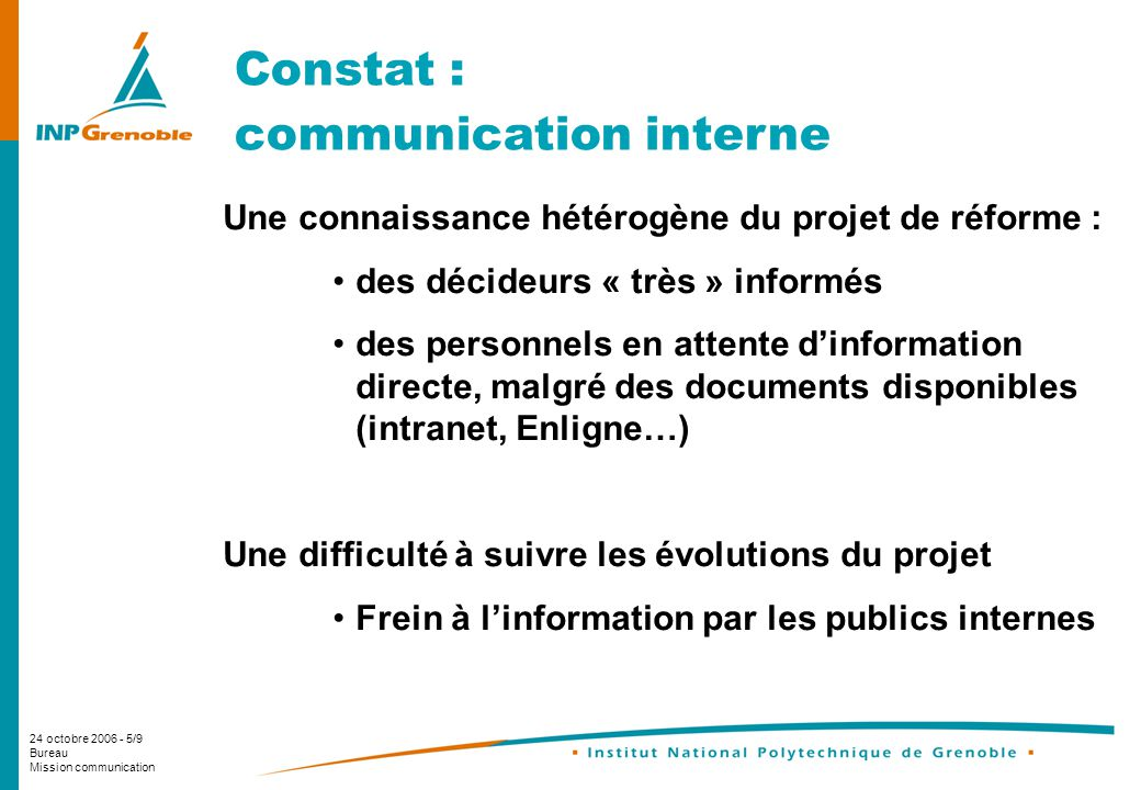 24 octobre 2006 - 5/9 Bureau Mission communication Constat : communication interne Une connaissance hétérogène du projet de réforme : des décideurs «