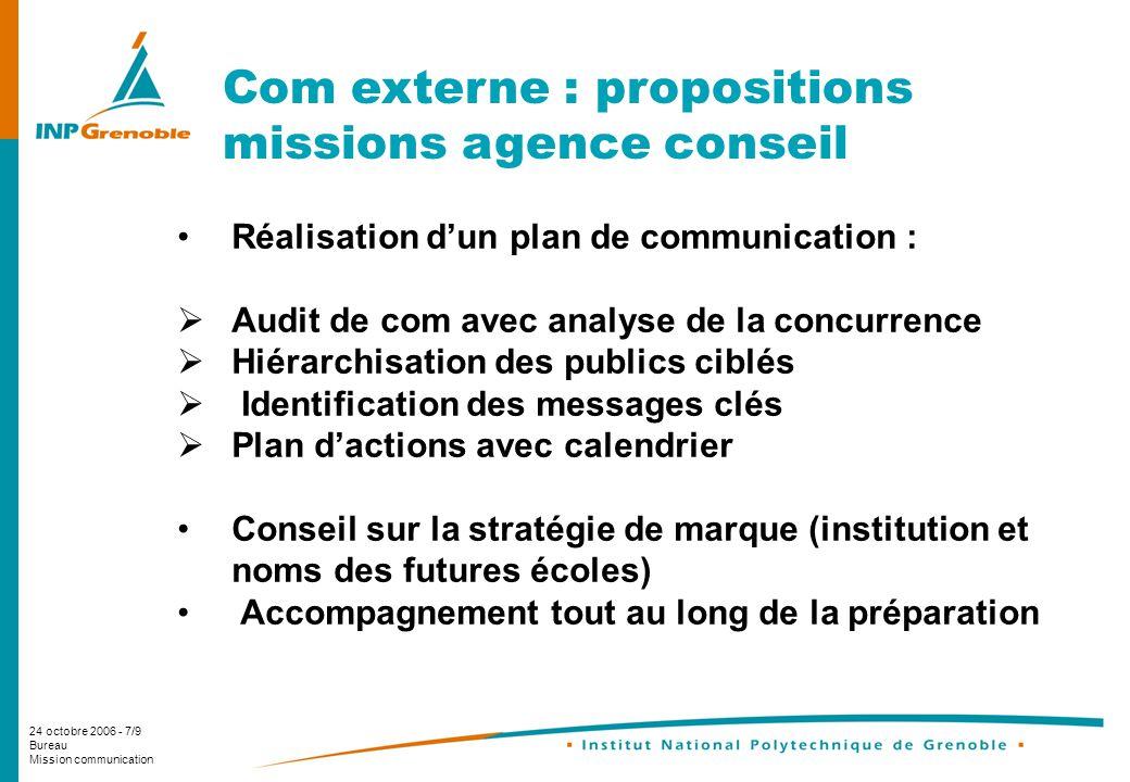 24 octobre 2006 - 7/9 Bureau Mission communication Com externe : propositions missions agence conseil Réalisation dun plan de communication : Audit de