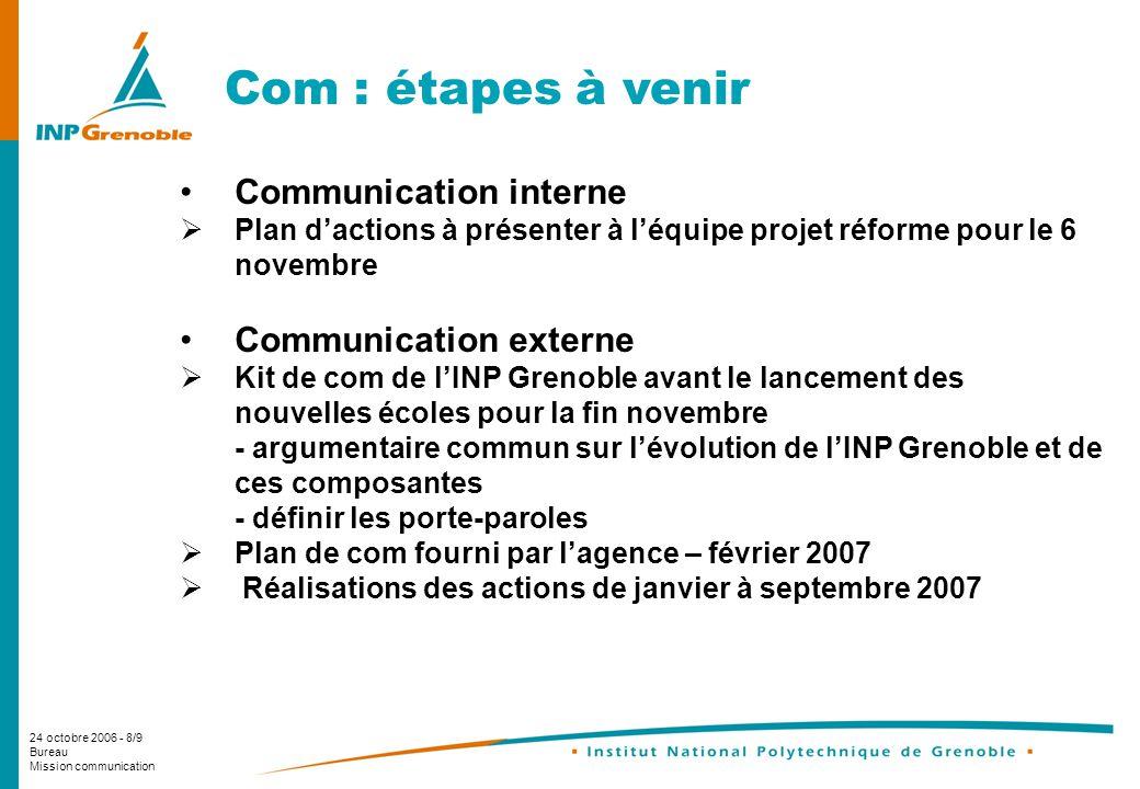 24 octobre 2006 - 8/9 Bureau Mission communication Com : étapes à venir Communication interne Plan dactions à présenter à léquipe projet réforme pour