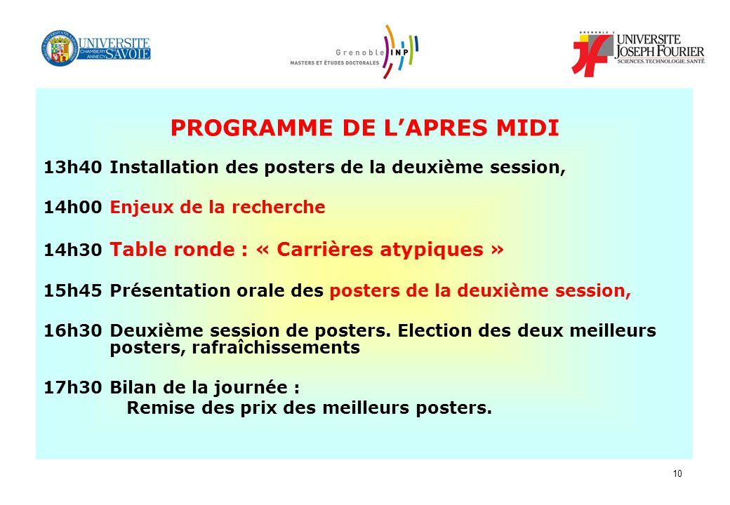 10 PROGRAMME DE LAPRES MIDI 13h40 Installation des posters de la deuxième session, 14h00 Enjeux de la recherche 14h30 Table ronde : « Carrières atypiq