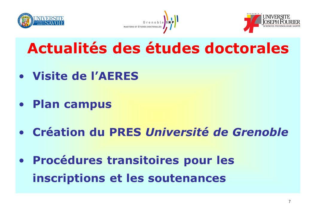 7 Actualités des études doctorales Visite de lAERES Plan campus Création du PRES Université de Grenoble Procédures transitoires pour les inscriptions