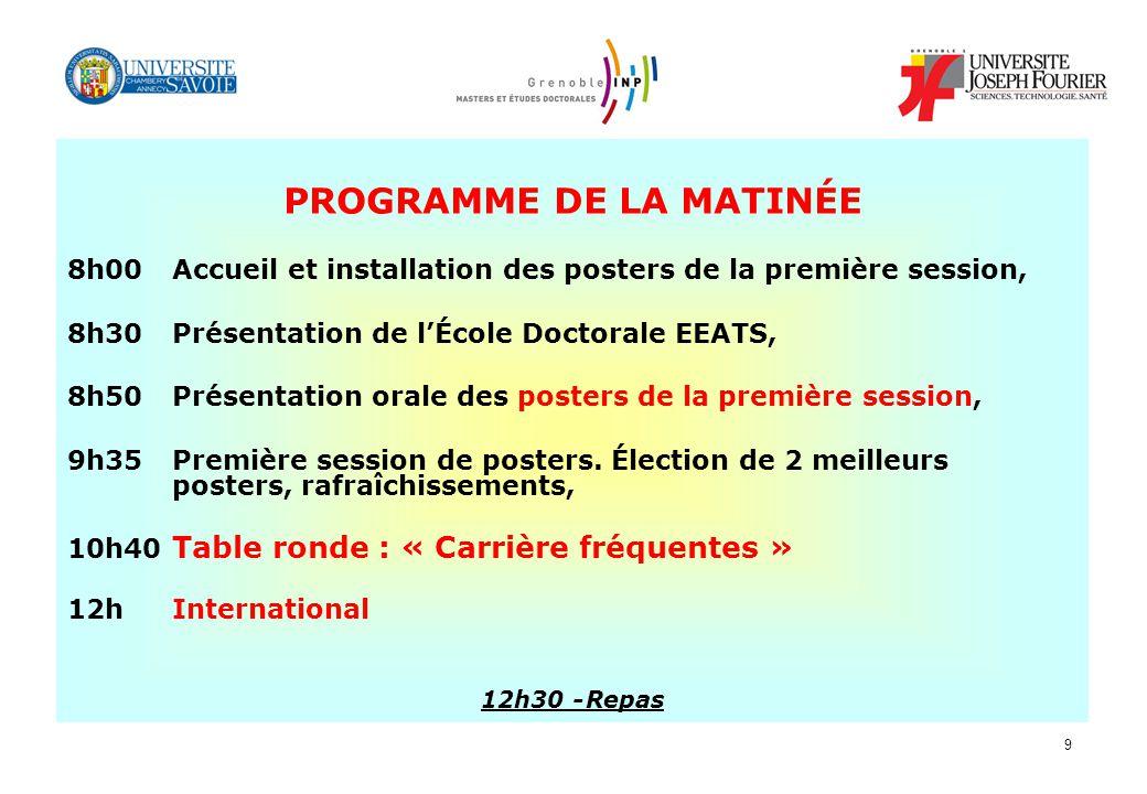 9 PROGRAMME DE LA MATINÉE 8h00 Accueil et installation des posters de la première session, 8h30 Présentation de lÉcole Doctorale EEATS, 8h50 Présentat