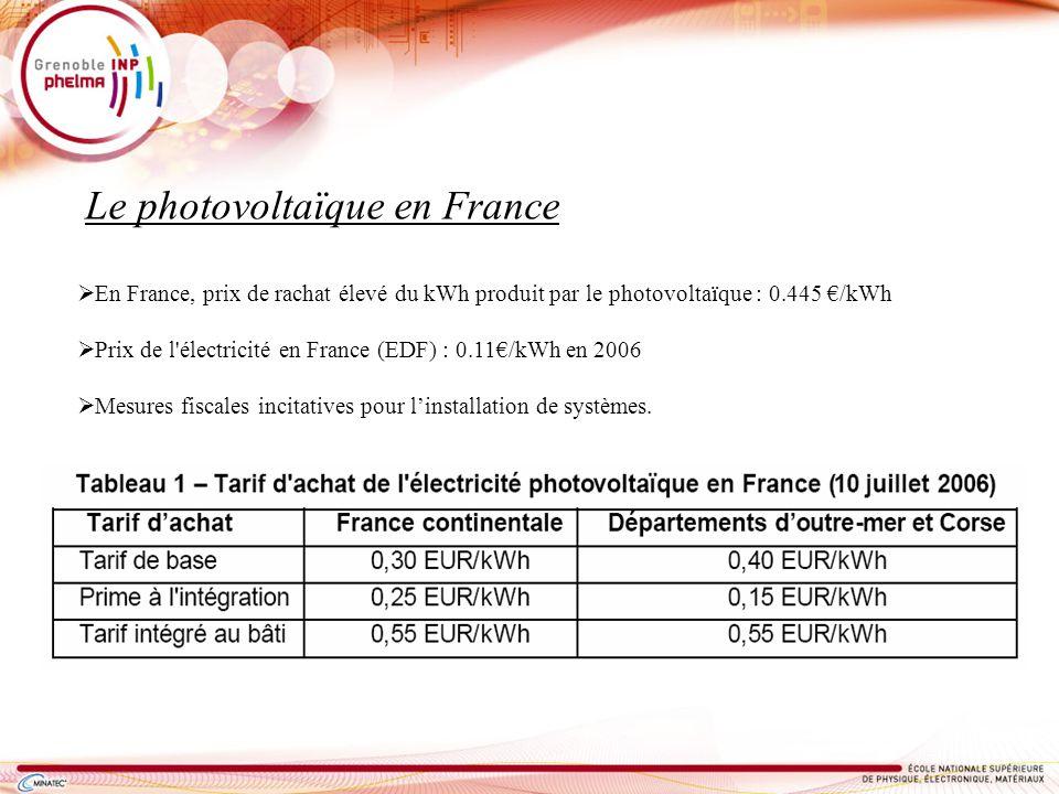 En France, prix de rachat élevé du kWh produit par le photovoltaïque : 0.445 /kWh Prix de l'électricité en France (EDF) : 0.11/kWh en 2006 Mesures fis