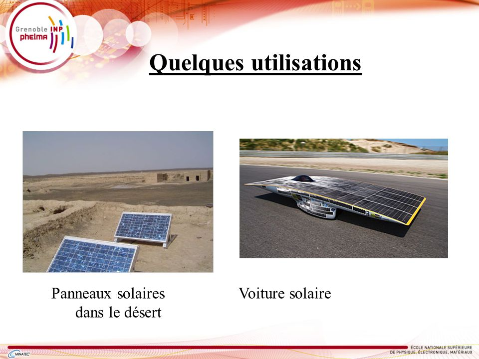 Quelques utilisations Panneaux solaires Voiture solaire dans le désert