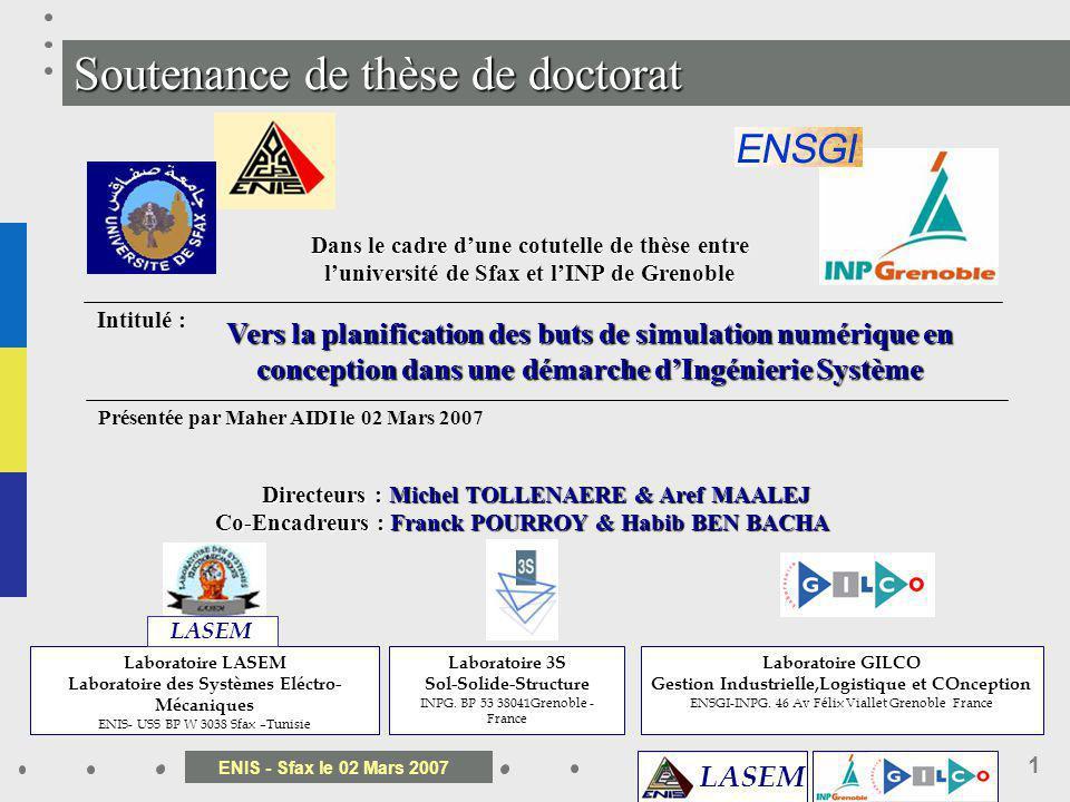 LASEM ENIS - Sfax le 02 Mars 2007 1 Soutenance de thèse de doctorat Dans le cadre dune cotutelle de thèse entre luniversité de Sfax et lINP de Grenobl