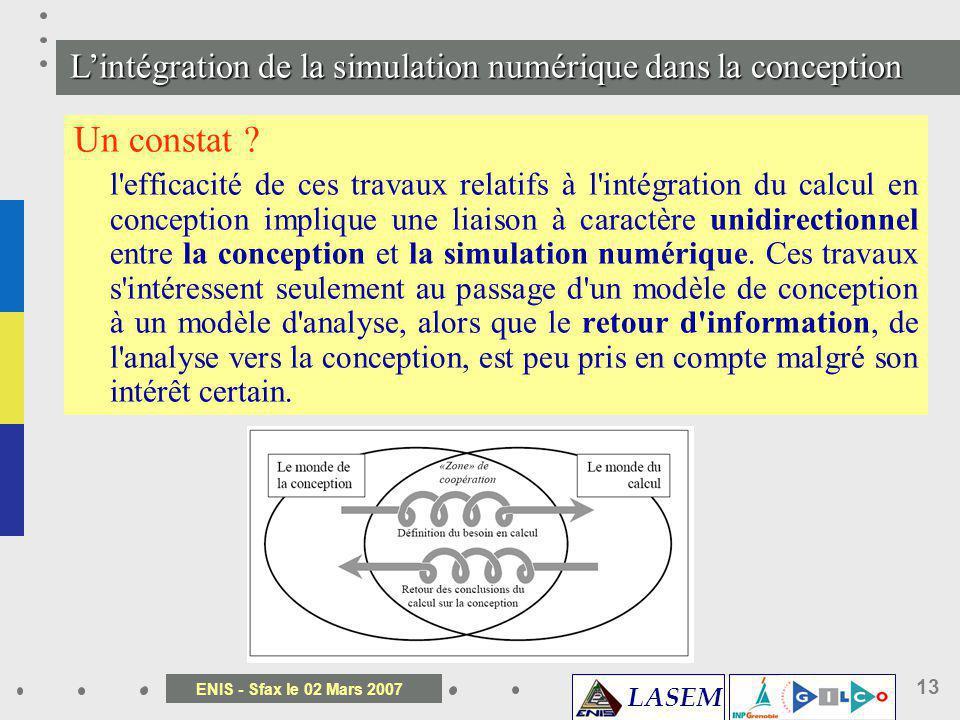LASEM ENIS - Sfax le 02 Mars 2007 13 Un constat ? l'efficacité de ces travaux relatifs à l'intégration du calcul en conception implique une liaison à