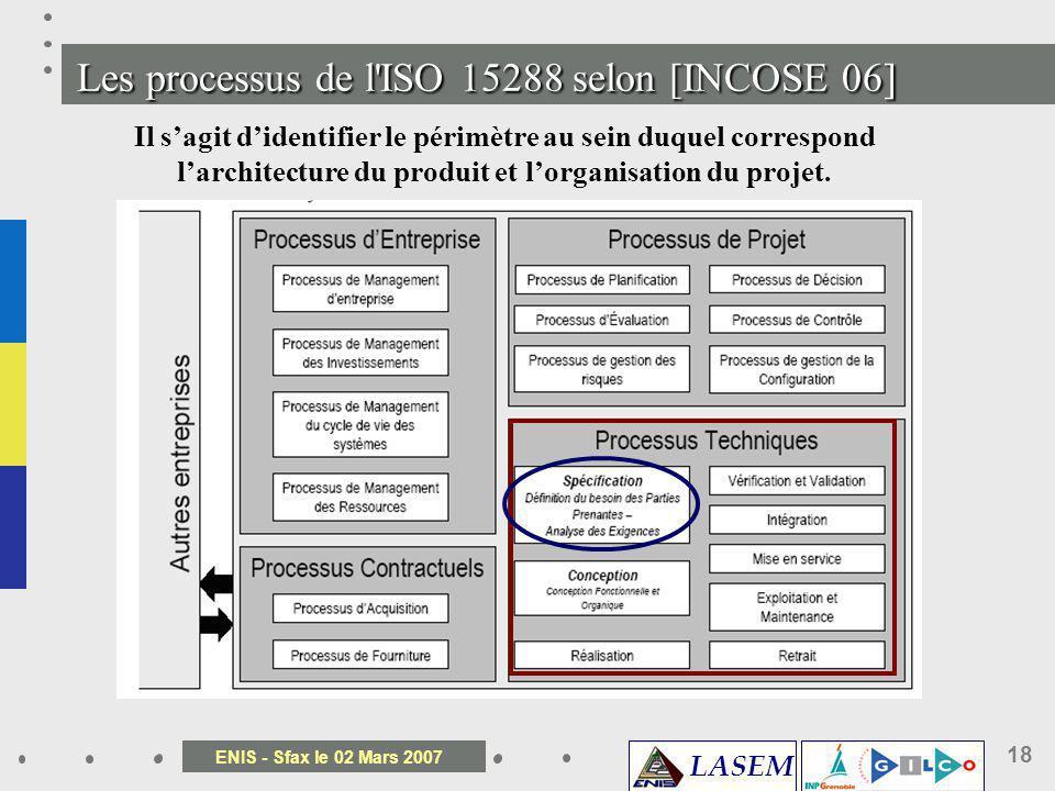 LASEM ENIS - Sfax le 02 Mars 2007 18 Les processus de l'ISO 15288 selon [INCOSE 06] Il sagit didentifier le périmètre au sein duquel correspond larchi