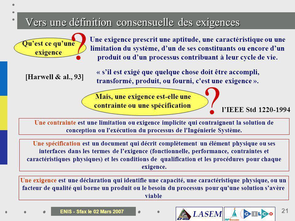 LASEM ENIS - Sfax le 02 Mars 2007 21 Vers une définition consensuelle des exigences Quest ce quune exigence ? Une exigence prescrit une aptitude, une