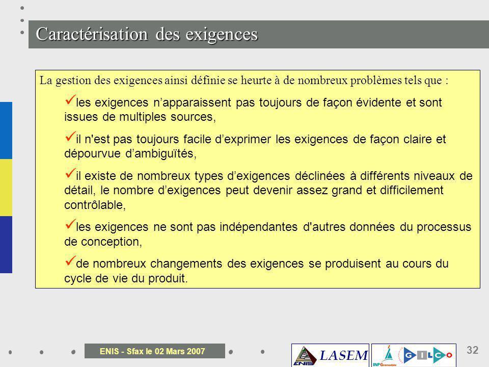 LASEM ENIS - Sfax le 02 Mars 2007 32 La gestion des exigences se définit comme une approche systématique destinée, dune part, à obtenir, à organiser,