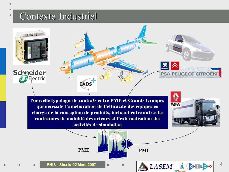 LASEM ENIS - Sfax le 02 Mars 2007 4 Variation des produits techniques Multi sites, multi organisation, Développement sous contrainte de délais Le conc