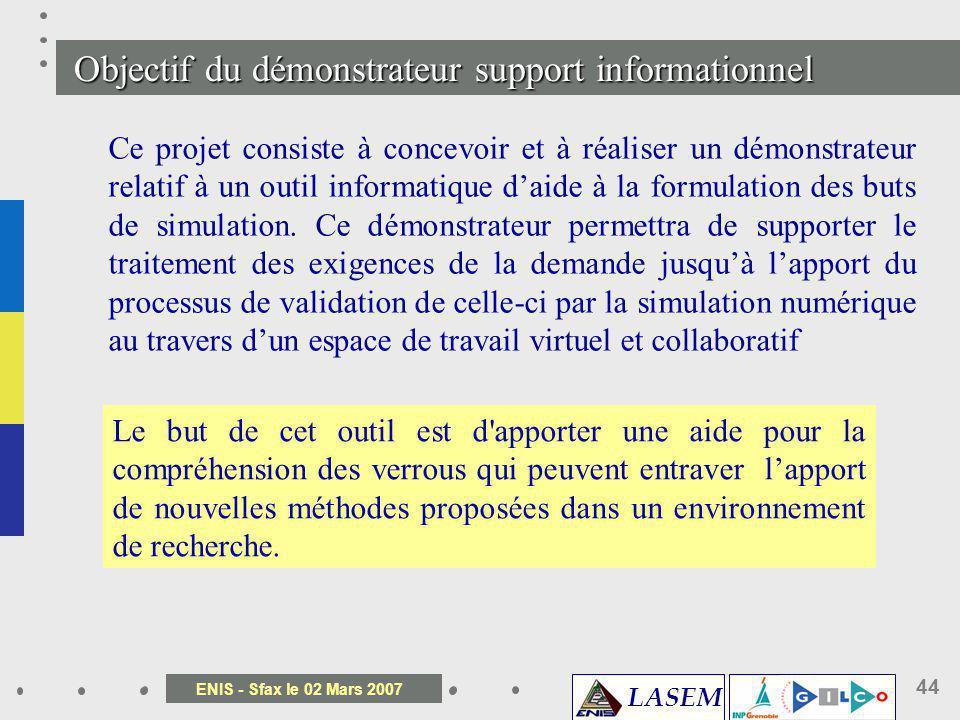 LASEM ENIS - Sfax le 02 Mars 2007 44 Ce projet consiste à concevoir et à réaliser un démonstrateur relatif à un outil informatique daide à la formulat