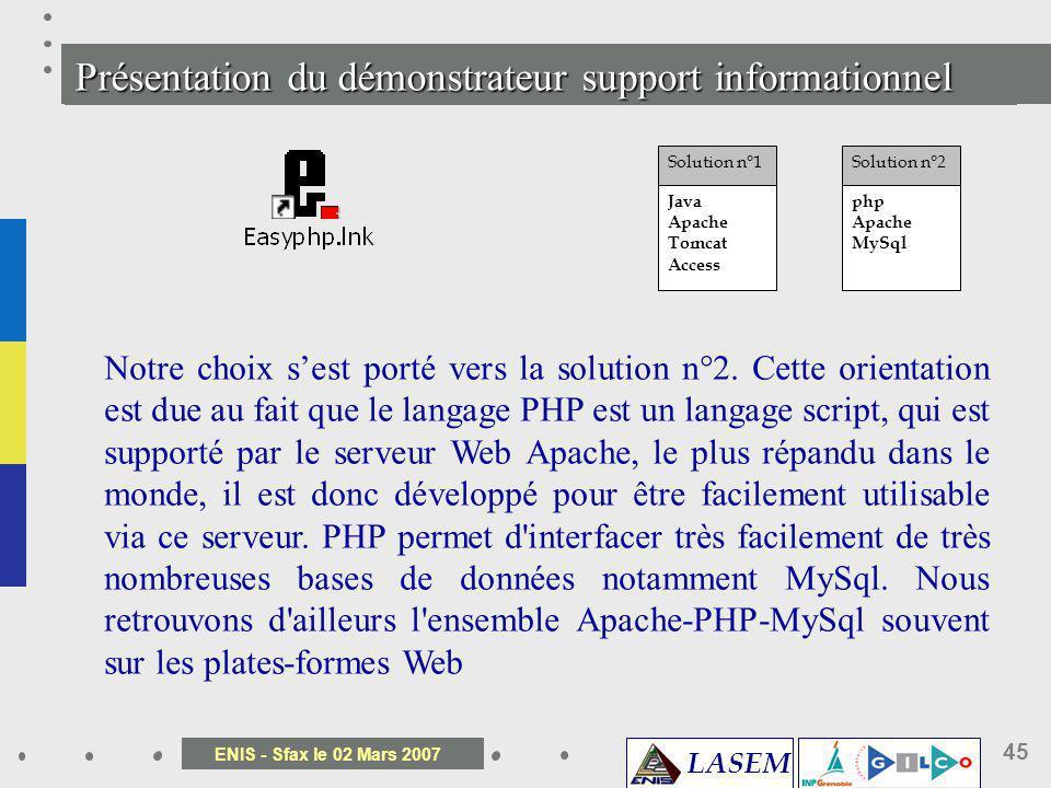 LASEM ENIS - Sfax le 02 Mars 2007 45 Pr é sentation du d é monstrateur support informationnel Notre choix sest porté vers la solution n°2. Cette orien