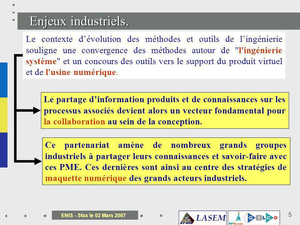 LASEM ENIS - Sfax le 02 Mars 2007 5 Le contexte dévolution des méthodes et outils de lingénierie souligne une convergence des méthodes autour de