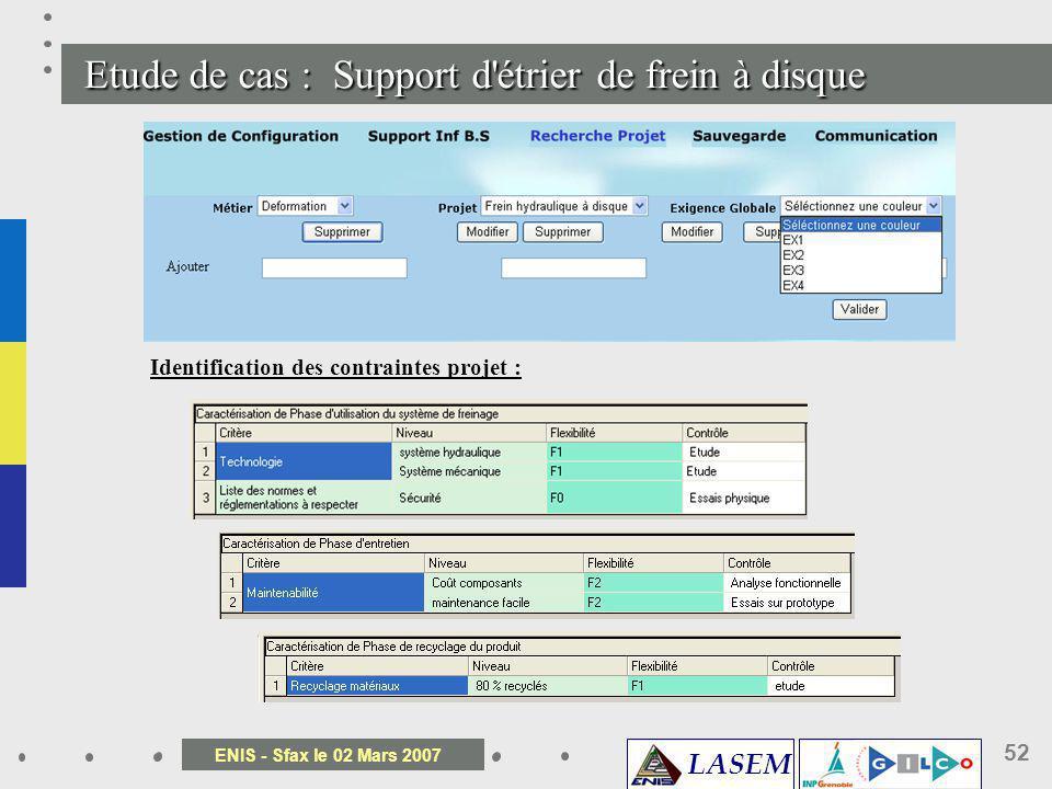 LASEM ENIS - Sfax le 02 Mars 2007 52 Etude de cas : Support d' é trier de frein à disque Identification des contraintes projet :