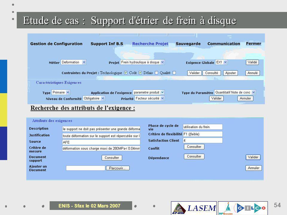 LASEM ENIS - Sfax le 02 Mars 2007 54 Etude de cas : Support d' é trier de frein à disque Recherche des attributs de lexigence :