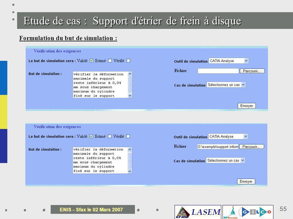 LASEM ENIS - Sfax le 02 Mars 2007 55 Etude de cas : Support d' é trier de frein à disque Formulation du but de simulation :
