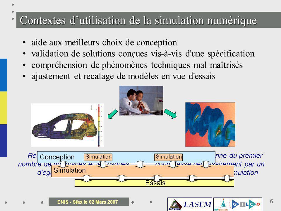 LASEM ENIS - Sfax le 02 Mars 2007 6 Une conception bonne du premier coup passe nécessairement par un recours précoce à la simulation Réduire l'avance
