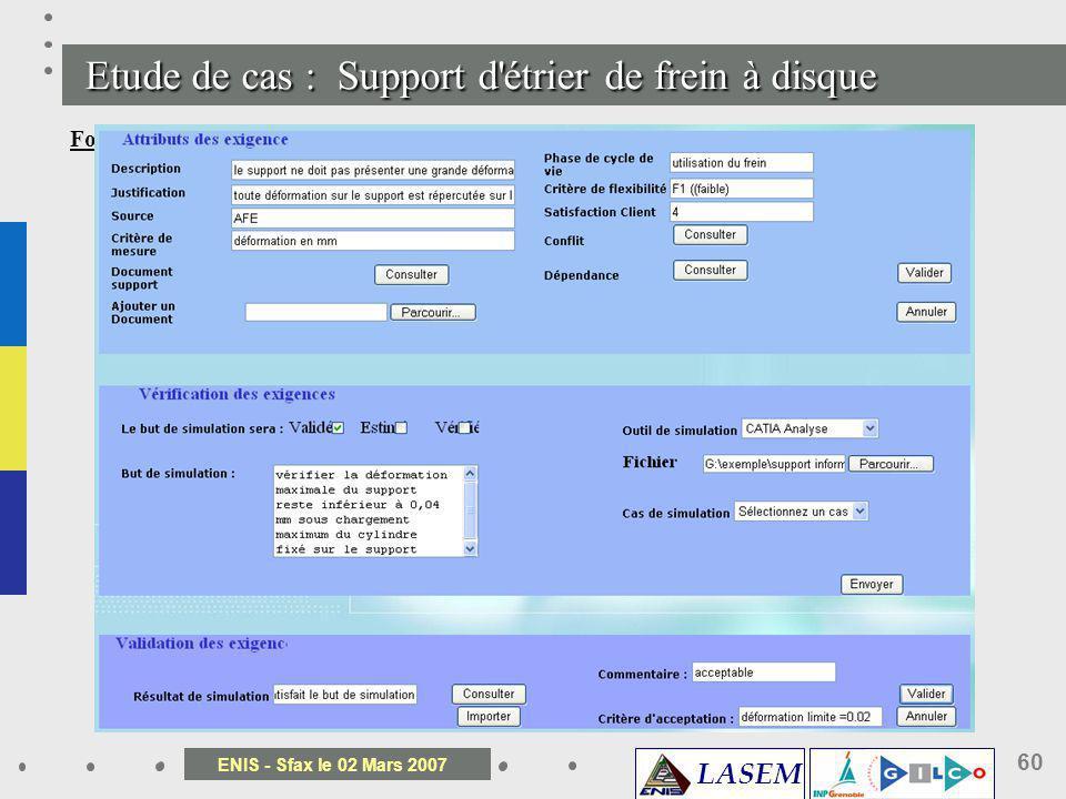 LASEM ENIS - Sfax le 02 Mars 2007 60 Etude de cas : Support d' é trier de frein à disque Formulation du but de simulation : Pour créer un cas de simul