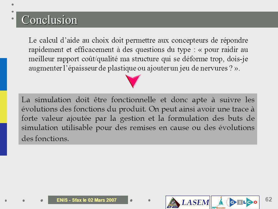 LASEM ENIS - Sfax le 02 Mars 2007 62 Conclusion Le calcul daide au choix doit permettre aux concepteurs de répondre rapidement et efficacement à des q